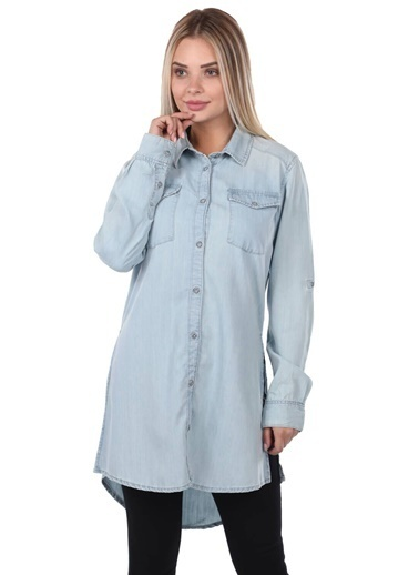 BLUE WHİTE Uzun Jean Kadın Gömlek Mavi